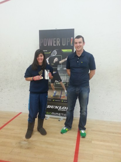 GU13 runner-up Aanya Hamilton with Tim Baker of sponsors QS Lawson & Thompson Solicitors