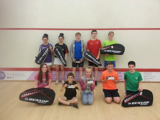 WHAT A RACKET: 10 of the 12 prizewinners (back row, left to right): Sophie Freeman, Megan Freeman , Leighton Adamson, Sam Evans , Lennox Lockwood; (front row, left to right): Niamh Barclay, Luca Baldasera, Abigail Bedford, Sam Sweeney, Ewan Strathdee