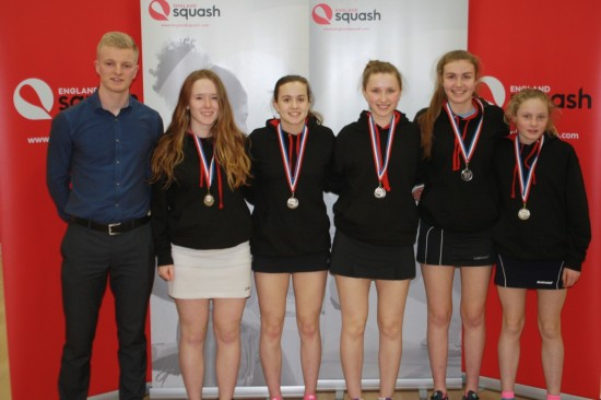 SILVER SERVICE: Dame Allans; Girls U19s team, which finished runners-up - Manon Williams, Lowri Waugh, Laura Neill, Martha Spalding and Annie Anderson