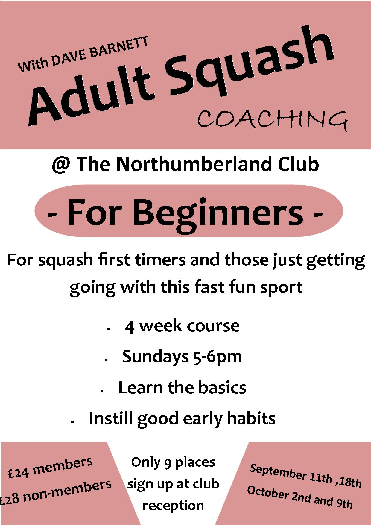 adult squash coaching – beginners